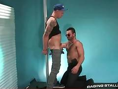 Turned on bear passionately slurps friend`s juicy boner.