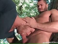 Muscled dude readily wraps his lips around dude`s stiff boner.