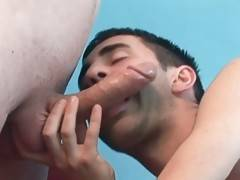 Turned on gay bear Brett gives Patrick passionate blowjob.