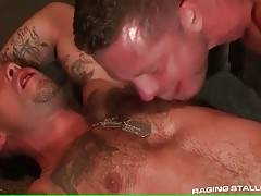 Charlie Harding skillfully licks and kisses Caleb Colton`s relief body.