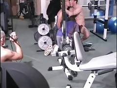 Three tough dudes get too much turned on in gym.