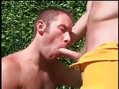 Horny dude passionately works her mouth at friend`s stiff dick.