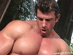 Horny gay bear kneels down and tastes friend`s shaft.