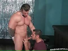 Toned guy stays on his knees and sucks friend`s dong.
