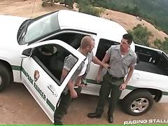 Horny ranger gives skillful blowjob to his partner.