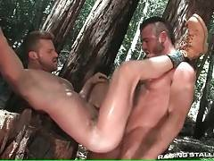 Hairy stud sucks lover`s dick and then fucks his butt.