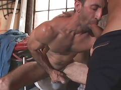 Hairy daddy returns skillful blowjob to his muscled partner.
