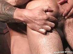 Muscled tattooed stud attacks partner`s welcome ass.