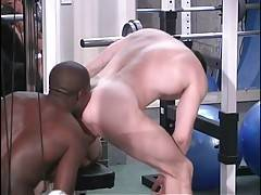 Two guys are sucking friend`s dick and licking his ass.